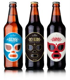 Designer José Guízar drew inspiration from 'kitschy' Lucha Libre, one of the most iconic symbols of Mexican pop culture, for this series of Mexican beers