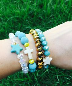 #Pulseras #Bracelet #pulseiras #moda #fasna #fashion #turquesa #dorado #blamco #estrella #cruz #gold #turquoise #cristal #white #mix #accesorios