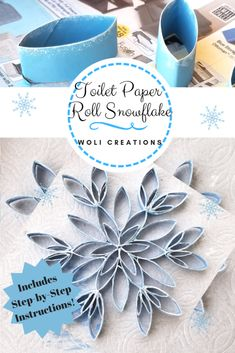 Toilet Paper Roll Snowflake - Step-by-step instructions for this gorgeous upcycled craft that will bring a bit of sparkle into your home this winter season. Contains much needed hints and advice for m Toilet Roll Craft, Toilet Paper Roll Art, Rolled Paper Art, Toilet Paper Roll Crafts, Upcycled Crafts, Recycled Garden Crafts, Etsy Crafts, Christmas Ornament Crafts, Holiday Crafts