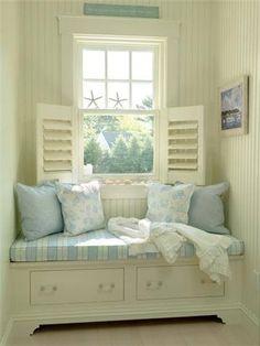 Beautiful coastal cottage reading nook