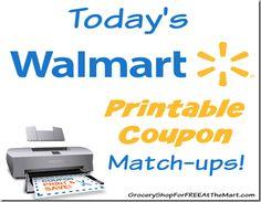Today's Walmart Printable Coupon Matchups!