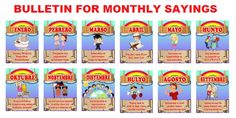 Display Bulletins for Monthly Sayings NEW! Display Bulletins for Monthly Sayings (January-December) Credits to Lelyn Goleña Bal. Elementary Bulletin Boards, Classroom Walls, Classroom Bulletin Boards, Classroom Posters, Math Board Games, Math Boards, Bulletin Board Borders, Bulletin Board Display, Art Games For Kids