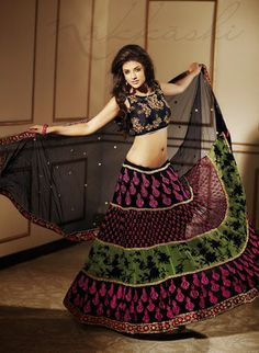 half saree designs is the traditional costume in the South Indian states. It is an easy transition between the childhood pavadai to the grown-up's saree. Lehenga Style Saree, Party Wear Lehenga, Bridal Lehenga, Black Lehenga, Anarkali, Lehenga Choli, Party Sarees, Net Lehenga, Wedding Sarees