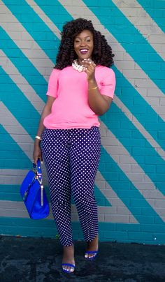 Polka dot trousers add excitement to a casual summer look.