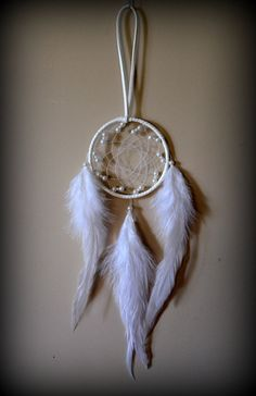 3'' White Dream Catcher with pearl beads. by DreamySummerNights