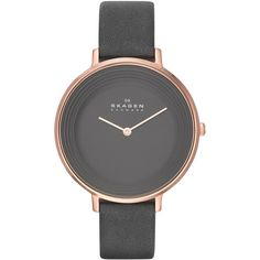 Skagen Women's Ditte Gray Leather Strap Watch 37mm SKW2216 (2 190 ZAR) ❤ liked on Polyvore featuring jewelry, watches, fillers, no color, thin watches, skagen, skagen watches, skagen wrist watch and skagen jewelry