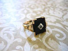 Antique Victorian 14K GF / Sterling Onyx Ring w by charmingellie, $87.00