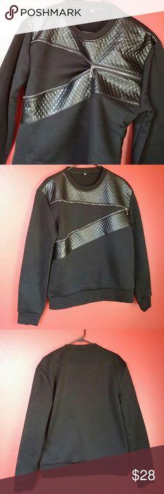 Men's fashion sweatshirt Stylish men's black zippered sweatshirt. Excellent condition. Never been worn. Tops Sweatshirts & Hoodies