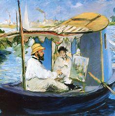 "Edouard Manet -      ""Monet In His Studio Boat"""