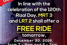 Rizal Day: Free Train Ride, Road Closure, Everything Motorists Need To Know On Dec. 30