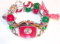 Christmas Beaded Watch Band with Red Face  by BeadsnTime on Etsy, $30.00