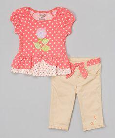 Orange Polka Dot Top & Beige Pants - Toddler