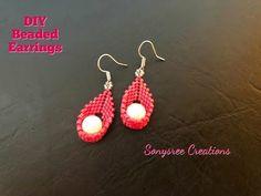 Swing Pearl Earrings Peyote stitch Easy Tutorial - YouTube