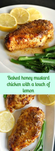 Baked honey mustard chicken with a touch of lemon, a fantastic meal for two. Healthy, easy to make, and so delicious. Why not give it a try for Valentine's Day? (Baking Chicken Meals)