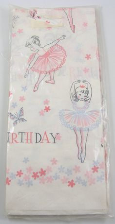 Vintage Birthday Girl Tissue Paper Table Cover Tablecloth Extra Large Size