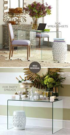 Double Duty Furniture Pieces: Wisteria glass desk