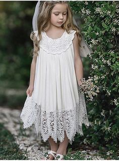 9846dc878a2 Kids Girls  Sweet Daily Solid Colored Lace Sleeveless Maxi Polyester Dress  White 2019 - US