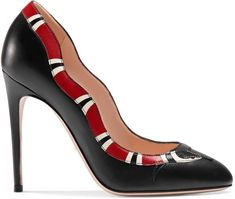 Gucci Fosca AppliquÉd Embellished Textured-leather Ankle Boots In 9265 Bianco Black High Heel Pumps, Leather High Heels, Black Leather Shoes, Pumps Heels, Black Shoes, Red Leather, Red Pumps, Stilettos, Wrap Shoes