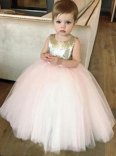 Blush Pink Flower Girl DressesBall Gown Dress Tutu SparklySequined