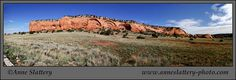 Panorama of Ojos de Tecolate Mesa from Casamero Pueblo ruins, near Thoreau, New Mexico by Anne Slattery - IMG_E_67407_p