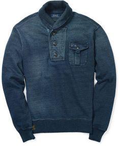 Polo Ralph Lauren Indigo Fleece Shawl Pullover