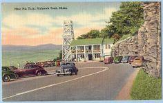 MOHAWK TRAIL, MASSACHUSETTS, HAIR PIN TURN, COOL OLD CARS, 1949 POSTMARK — Ancient Tony Vintage PostCards