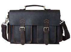 Genda 2Archer Leather Messenger Bag Briefcase Tote Bag for Men (Coffee) >>> Click on the image for additional details.