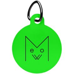 Meow Circle Pet Tag, Black Design – Optic Poem Design