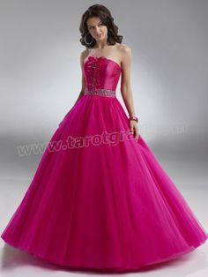 Fuchsia A-Line Strapless Pleats Full Length Organza Prom Dress