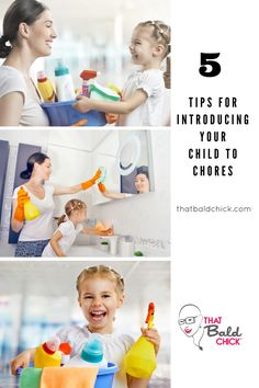 Use these 5 tips to introduce your child to chores and keep it fun! Details at thatbaldchick.com @thatbaldchick via @thatbaldchick