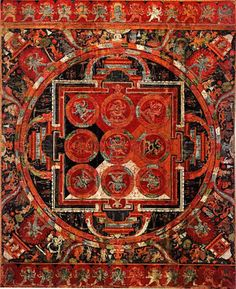 """Early Tibetan Mandala of Vajrahumkara. This mandala represents the sacred assembly of Vajrahumkara, a personification of the diamond-like hum mantra. The central deity is also known as Trailokyavijaya (""""Conqueror of the Three Worlds""""). The three worlds mastered by the deity are sometimes des cribed as the sky, earth and ether; they are also referred to as the three realms (dhatu) of kama (""""desire""""), rupa (""""form"""") and arupa (""""formlessness"""")..."""