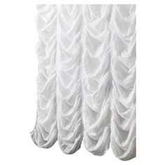 Showcasing an eye-catching ruched design, this elegant white shower curtain adds a touch of sophistication to your master bath.   Produc...