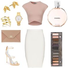 Nude by mrodriguez811 on Polyvore featuring polyvore, fashion, style, Jonathan Simkhai, Giuseppe Zanotti, Jimmy Choo, Kate Spade, Smith/Grey, Gorjana, Urban Decay and nude