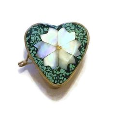 Vintage Pill Box Alpaca Mexico Heart MOP by RosePetalResources, $22.00