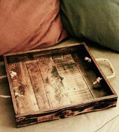 Wood tray with rope handles