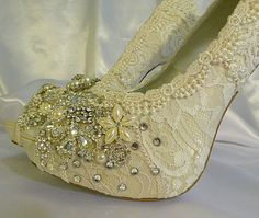 Twinkle Toes vintage lace wedding shoes 5 by everlastinglifashion, $305.00