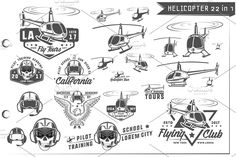 22 in 1 Helicopter emblems and logo helicopter vector silhouette helicopters vector travel illustration transportation air set helicopter white military fly transport design aviation propeller isolated rescue flight sky vehicle rotor icon technology black wing chopper collection cartoon tourism helicopter emblem club helicopter club logo emblem label sign skull helmet