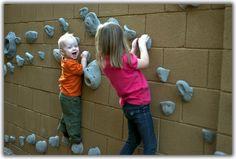Cinder block climbing wall