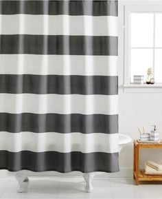 Kassatex Hampton Stripe Shower Curtain Spa Blue Striped shower