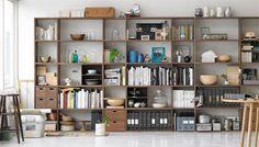 muji home ❤ Oak Shelves, Shelving, Wooden Shelves, Shelf Furniture, Home Furniture, Furniture Design, Muji Store, Stacking Shelves, Shelf Arrangement