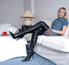 Blonde on couch in black leather thigh boots Thigh High Boots Heels, Hot High Heels, Heeled Boots, Crotch Boots, Frauen In High Heels, High Leather Boots, Black Leather Skirts, Sexy Boots, Fashion Moda