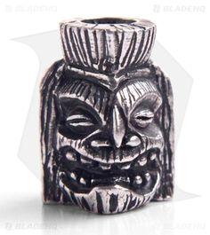 Schmuckatelli Ku Skull Lanyard Tiki Bead (Pewter)