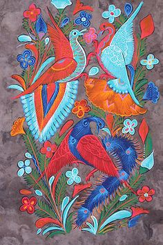 MEXICAN HANDCRAFTED AMATE BARK PAINTING WALL HANGING HOME DECOR ETHNIC FOLK ART