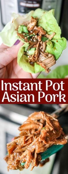 This Instant Pot Asian Pork recipe cooks up in jus. This Instant Pot Asian Pork recipe cooks up in protein, 240 calories! This Instant Pot Asian Pork recipe cooks up in jus. Pork Roast Recipes, Pork Tenderloin Recipes, Roast Brisket, Beef Tenderloin, Instant Pot Pressure Cooker, Pressure Cooker Recipes, Instant Pot Pork Loin Recipe, Instant Pot Asian Recipes, Korean Recipes