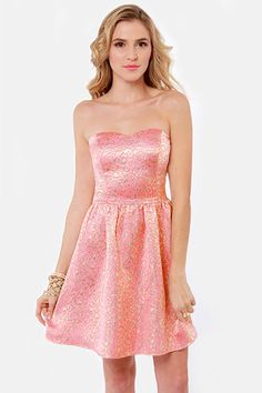 Pass the Champagne Gold and Pink Brocade Dress - $60.  So gorgeous.... haaay, bridesmaids...!