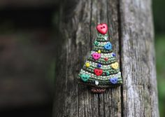 Crochet brooch Christmas tree, winter holidays gift