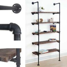 Industrial Bookcase Urban Storage Shelving Unit Wood Black Metal Wall Mounted | eBay