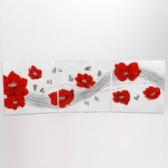 Set Of 3 Assorted Red Poppies Canvas Paintings available on Wysada.com