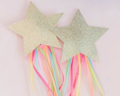 Rainbow Magical Star Wand in Gold Glitter. Birthday Party Favors. Cake Topper. Unicorn Kisses.  Twinkle Little Star Party. Party Favors.