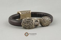 Viking Bracelet with Jormungandr  Leather Wristband  от PAKABONE